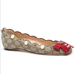 GUCCI Lexi Pearly GG Supreme Lip Ballet Flats